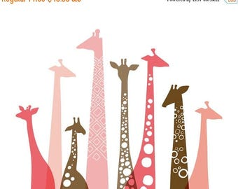 """SUMMER SALE 20X16"""" giraffe silhouettes landscape giclee print on fine art paper. pink and brown."""