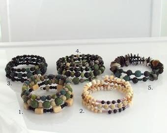 Lava Stone Bracelets for Essential Oils, Beaded Memory Wire Bracelets