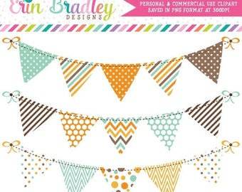 80% OFF SALE Bunting Clipart Digital Banner Flag Graphics Aqua Blue Orange Brown with Polka Dots Stripes Chevron Patterns Instant Download