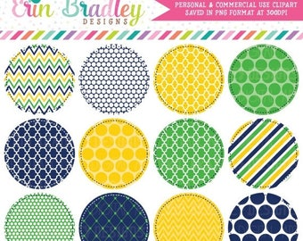 80% OFF SALE Circle Frames Clipart in Kelly Green Navy Blue & Yellow, Commercial Use Digital Label Clip Art
