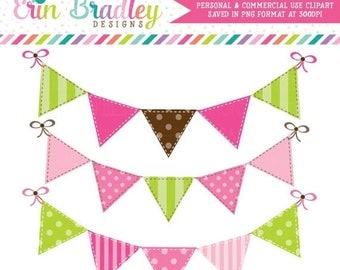 80% OFF SALE Pink and Green Bunting Clip Art Commercial Use Digital Clipart Graphics