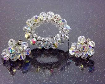 Clear Crystal Bead Brooch, Earrings, Cha Cha Clip Earrings, Wedding Bridal Jewelry, Bridal Bouquet, 1950's Fashion Jewelry Set