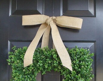 SUMMER WREATH SALE Square Boxwood Wreath- Artificial Boxwood Wreath with Burlap Ribbon- Spring Wreath for Door -Year Round Wreath- 20 Inch