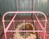 Antique iron bed pink twin shabby chic beach cottage girls