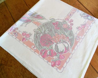 1950's Pink Tablecloth,  Fruit  Cotton Tablecloth, Retro Tablecloth, Pink Retro Tablecloth, Strawberry Tablecloth, Corn Tablecloth