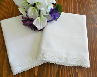 White Lace Trim Pillowcases, White Pillowcases, Combed Percale Pillowcases, Lace Trim Pillowcases, Cotton Pillowcases