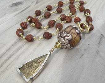 Sunrise Prayers - Rudraksha Prayer Bead Necklace with Buddha Amulet and Vintage Nepali Bead, Handmade, Boho