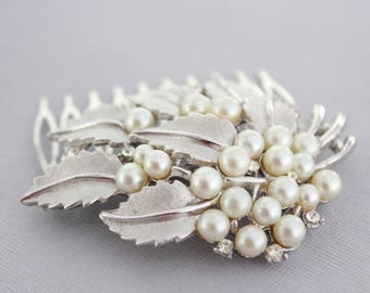 Bridal Hair Comb, Bridal Headpiece Pearl, Silver Wedding Hair Piece, Wedding Headpiece, Vintage Wedding Hair Comb, Wedding Hair Accessories