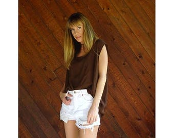 20% off SUMMER SALE. . . Sheer Chocolate Brown Chiffon Tank Blouse - Vintage 90s - XXL