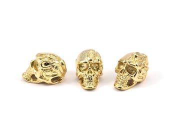 Gold Skull Head, 1 Gold Plated Brass Skull Head Bracelet Part (19x11x12.5mm) N426