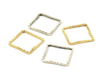 Silver / Gold Square Connector , 20 Antique Silver - Gold Plated Brass Square Connectors With Faceted One Side (14x0.85mm) N541