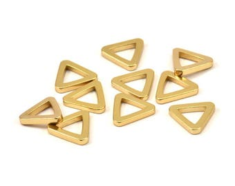 Triangle Charm - 8  Gold Plated Brass Triangle Charms (13x2mm) D020 Q081