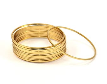 Gold Circle Connector, 8 Gold Plated Brass Circle Connectors (42x1x1mm) Bs 1085 Q026