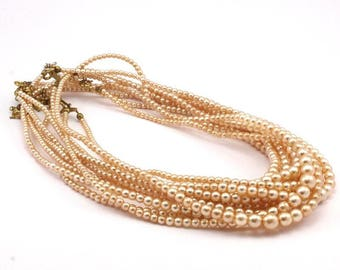Vintage Glass Pearl Beads, 4 To 10mm 17 Inch. 1 Strand M04