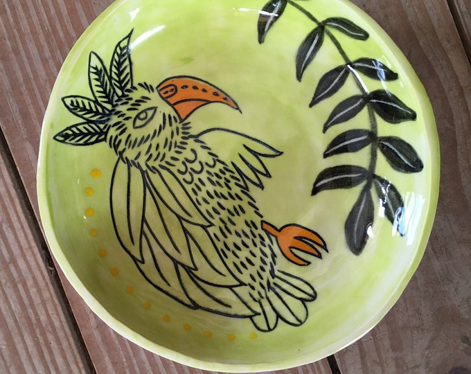 Parrot ceramic bowl, lime green, slab built pottery
