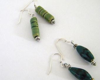 Sterling Kazuri earrings - clip option -stud post option - opaque - Fair Trade certified beads - handmade