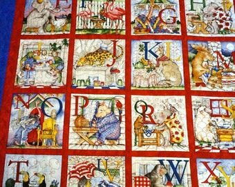 ABC, Alpahbet Mother Goose Rhymes Quilt & Pillow for Baby, Toddler, Girl, Boy, Crib Qult, TV Snuggling Time