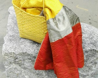 RESERVED (sl):  FIERY silk & wool throw or wrap in deep orange, champagne, and hot yellow
