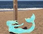 Mermaid outdoor art house name sign outside shower pool hot tub nautical decor Beach Wedding coastal living BeachHouseDreamsHome Outer Banks