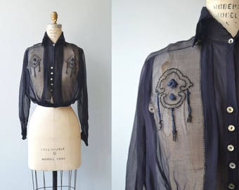 Secret Society blouse | vintage 1920s silk blouse | silk chiffon 20s blouse