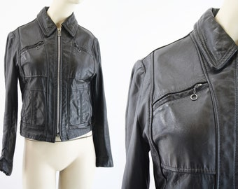 Vintage Woman's Lesco Leathers Black Leather Retro Jacket / Coat