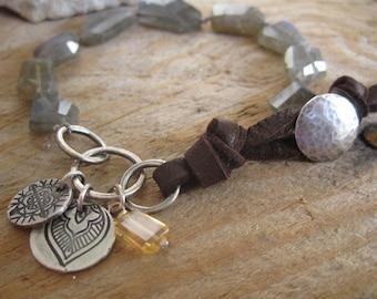 Labradorite, Citrine, Fine Silver, Leather Beaded Bracelet, Boho Stacking Bracelet, Layering Bracelet, Knotted Gemstone Bracelet