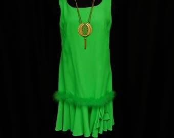 Vintage 60s Neon Dayglo Lime Green Drop Waist Dress Mod Sleeveless Maribou Fur Pleated Mini Skirt Retro Summer Party S Small M Medium 4 6