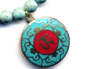 Tibet Om Sign Pendant, Om Coral Turquoise Pendant, Buddhist Necklace, Magnesite Necklace, Zen Yoga Necklace, Nepal Jewelry by AnnaArt72