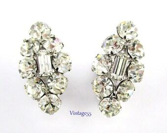 Rhinestone Earrings Clear Clip on