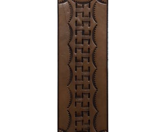 Leather Bookmark - Brown Bookmark - Leather Stamped Bookmark -  Bookmark for Books Handtooled Leather - Leather Gifts - His and Her Gifts -