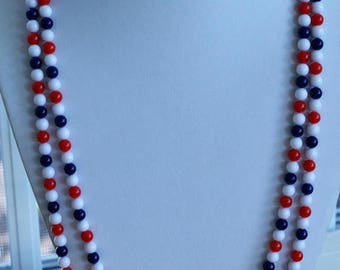 """On sale Red, White, Blue 6mm Plastic Beaded Necklace, Vintage, 54"""" (AO5)"""