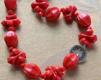 ON SALE Red Glass Beads, Czechoslovakia, Supplies, Vintage, Upcycle, Crafts (A14)