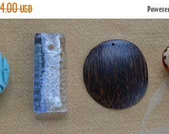 ON SALE Pendant Lot, (4), Crafts, Supplies, Jewelry Making, Turquoise, Wood, Dichroic Glass