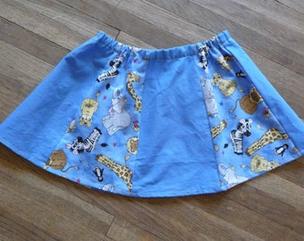 Girls Twirl Skirt, Animal Skirt, Blue Panelled Skirt, Elastic Waist, Toddler Size, Handmade Skirt, Unique Clothing,Zebra,Giraffe,Gored Skirt