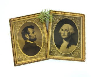 Gold Frames Vintage President Pictures Abraham Lincoln George Washington Ornate Gold Glass Pair of 2 Matching w/ Glass
