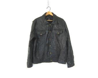 Vintage black leather Coat Stitched Patchwork Moto Biker Jacket Motorcycle Coat Jacket GS Men's Size Large