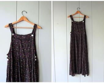 90s Floral Grunge Dress Long Slip Bib Dress Black Rayon BOHO Vintage Sundress Loose Fit Revival Sundress Long Rayon Dress Womens Medium