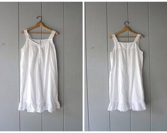 Vintage 90s White Cotton Dress Simple THIN Cotton Night Gown Mini Dress Sleeveless Summer Tank Dress White Slip Dress Womens Medium Large