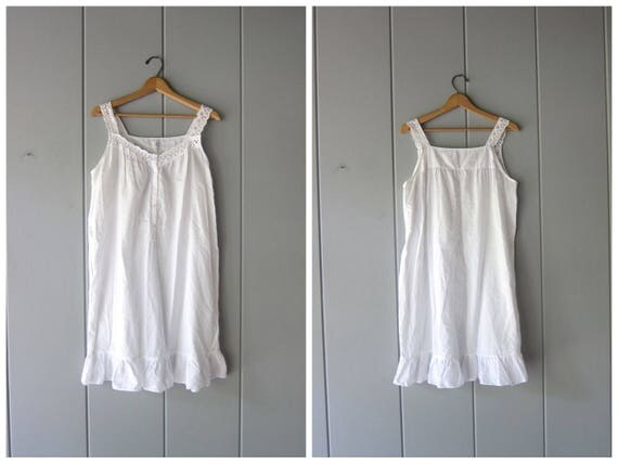 Vintage 90s White Cotton Dress Simple THIN Cotton Night Gown Mini Dress Sleeveless Summer Tank Dress White Slip Dress Womens Medium Large