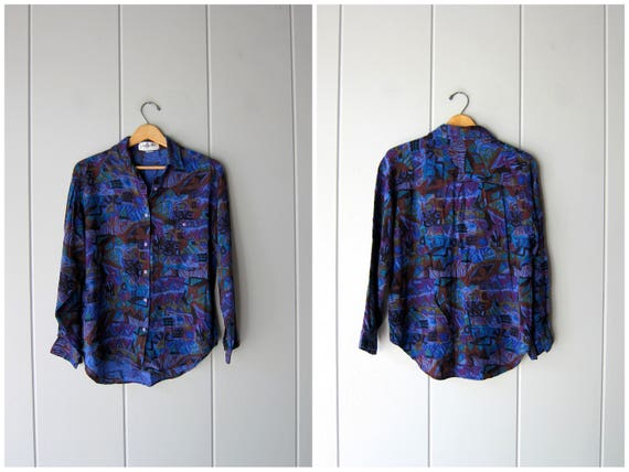 90s Abstract Print Shirt Vintage Button Up Rayon Blouse 80s DELLS Boho Button Down Shirt Slouchy Blue Purple Shirt Womens Medium
