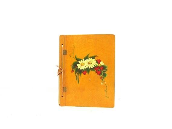 Wooden Photo Album Vintage Scrapbook Rustic Memory Book Scrap Book Journal Blank Travel Book Sketchbook Repurpsed Journal Painted Daisies