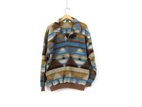 vintage Southwestern fleece sweatshirt Pullover blanket Ski Sweater jacket Button Neck Henley Tribal Pattern 1980s Sweater Men's Size Xl