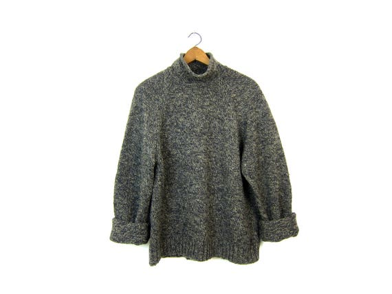 90s Thick Wool Sweater Oversized Speckled Sweater Oversize Jumper Mock Neck Chunky Wool Vintage Sweater Blue Grey Flecks Womens Large