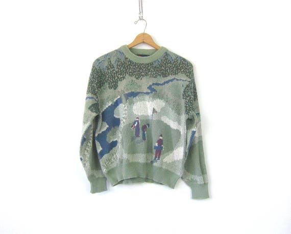 Green Golf Novelty Sweater Cotton Knit Sweater Retro Prep Sporty Pullover Casual Top Size Medium