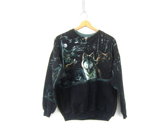 Howling WOLF Sweatshirt Grunge 1990s Black Sweater Hipster Baggy Novelty Animal Tomboy Sweatshirt with Pockets COED Size Large XL