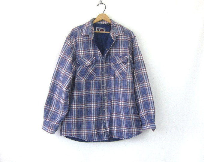 Vintage Flannel Jacket Insulated Lined Blue Plaid Flannel Rugged Fall Coat Pearl Snap Work Coat Rugged Grunge Shirt Jacket Mens Size Large T