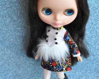 Mod Blythe Faux Fur Dress 3 Black multicolour circle dress by maker and muse