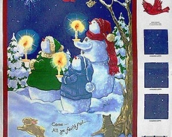 """36"""" Fabric Panel - Christmas Come All Ye Faithful Snowman Wallhanging - Springs"""