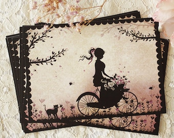"Postcard - illustrated postcard - Miss SHadow - silhouette - bicycle - countryside - ""At the countryside"""