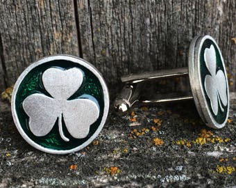 Shamrock Pewter Cufflinks | Men's Cufflinks | Gift for Groom | Irish Jewelry | Cuff Links | by Treasure Cast Pewter